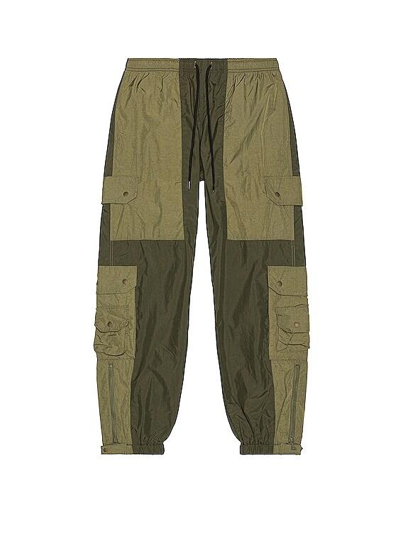 Paneled Nylon Cargo Pants in Olive