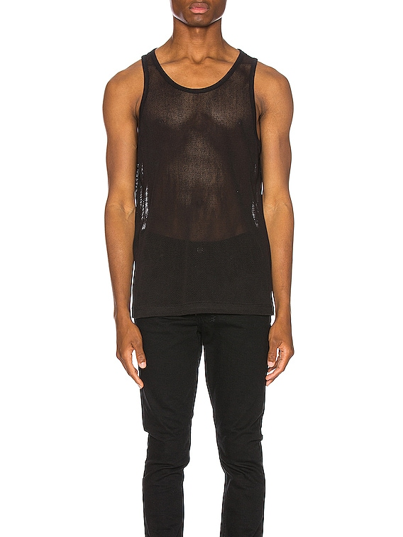 Cotton Mesh Tank in Black