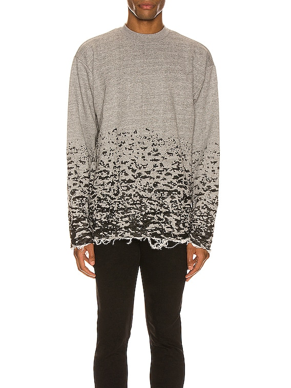 Burn Out Mock Neck Sweatshirt in Grey