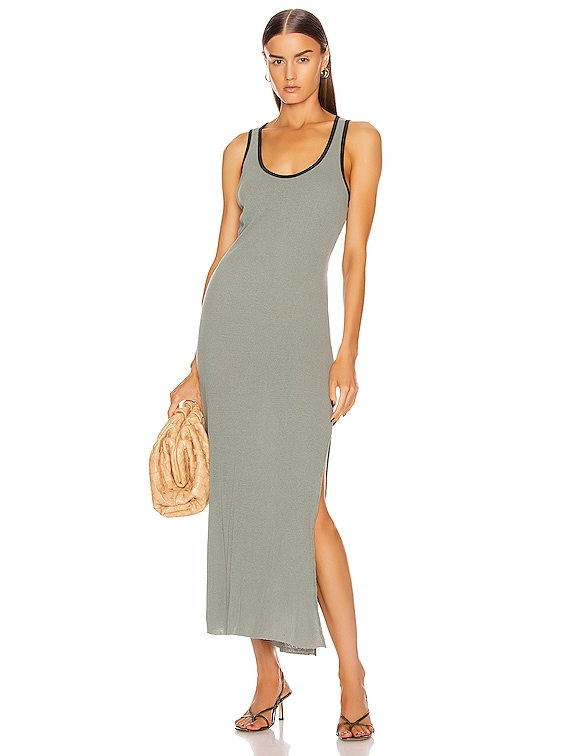 Rib Maxi Dress in Moss