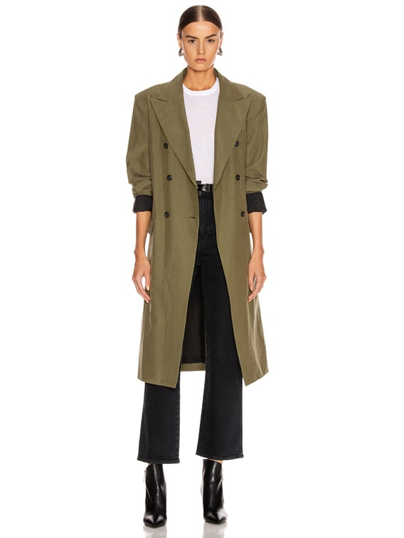 Belted Trench Coat in Olive