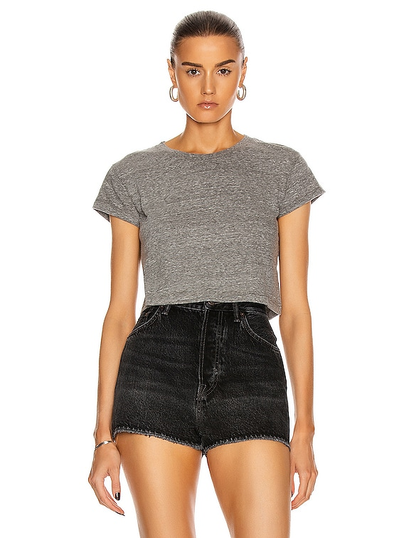 Jersey Cropped Tee in Heather Grey