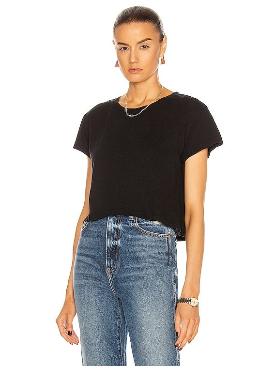 Jersey Cropped Tee in Black