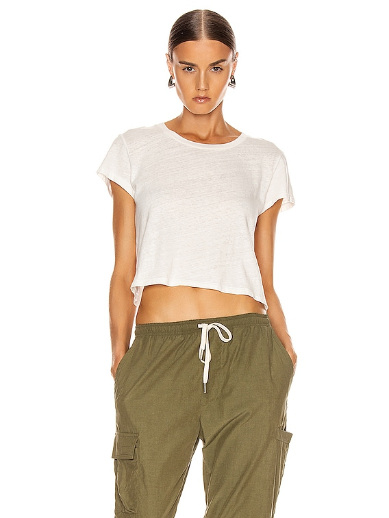 Jersey Cropped Tee in Chalk
