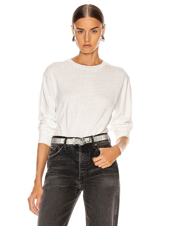 Long Sleeve Cropped Tee in Chalk