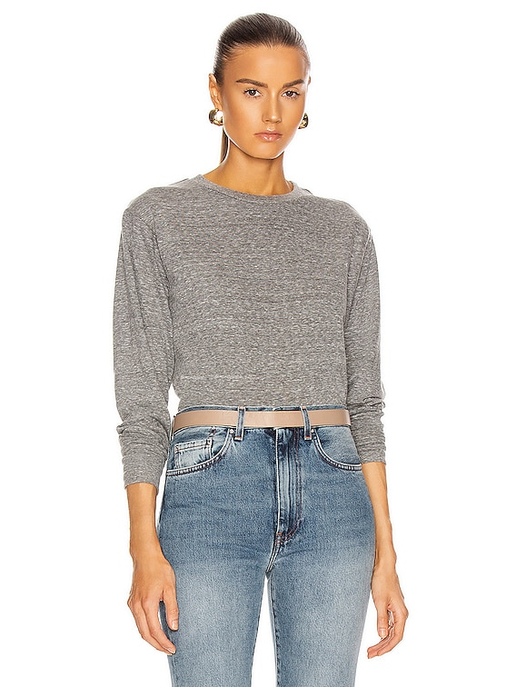 Long Sleeve Cropped Tee in Heather Grey