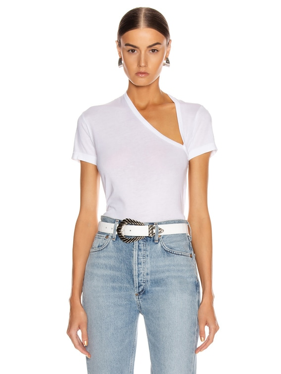 Supima Asymmetrical Tee in White