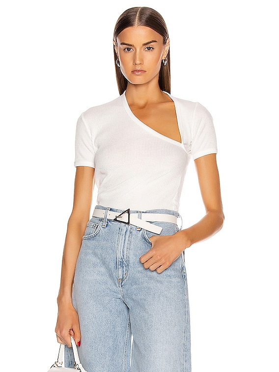 Rib Asymmetrical Tee in White