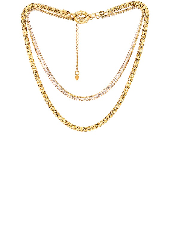 for FWRD St. Tropez Necklace Stack in Gold & Crystal