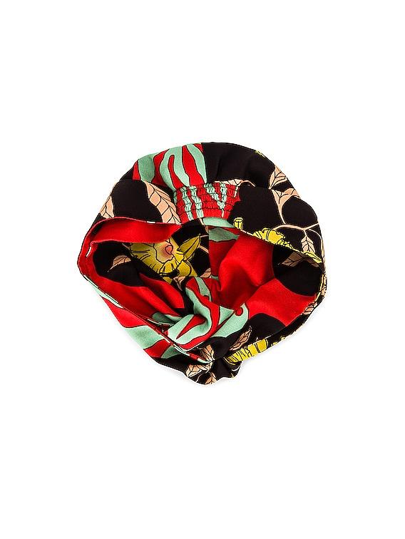Beak Splendor Turban in Black & Multicolor