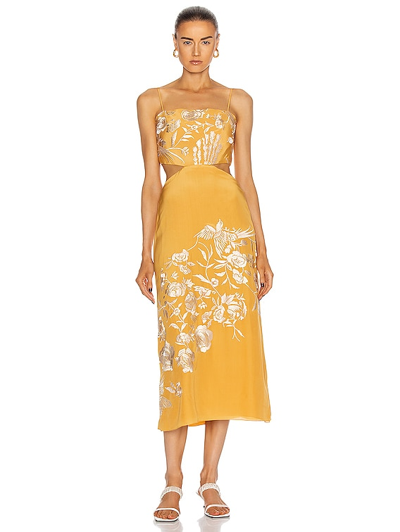 Moon Whispers Embroidered Midi Dress in Yellow Ochre