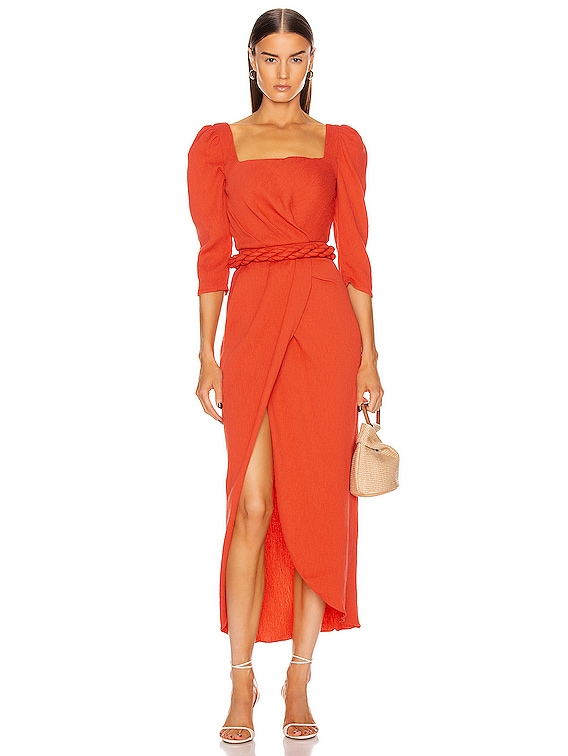 Classic Meetings Midi Belted Dress in Paprika