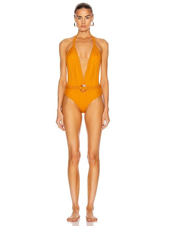 Romantic Sun with Belt One Piece Swimsuit in Summer Mustard