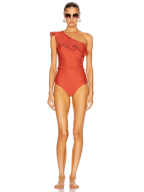 Love Affair with Belt One Piece Swimsuit in Paprika Red