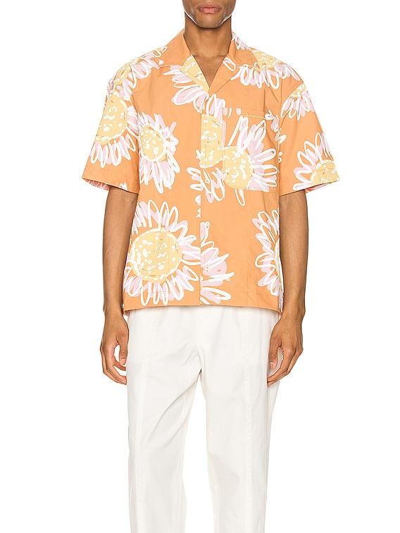 Jean Shirt in Orange Flowers Print