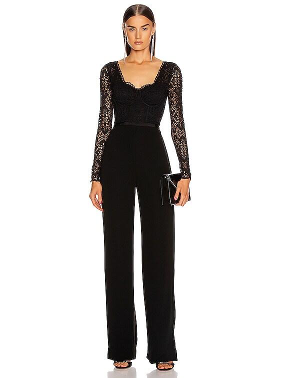 Lace Bustier Jumpsuit in Black
