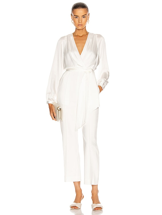 Piper Combo Wrap Jumpsuit in White