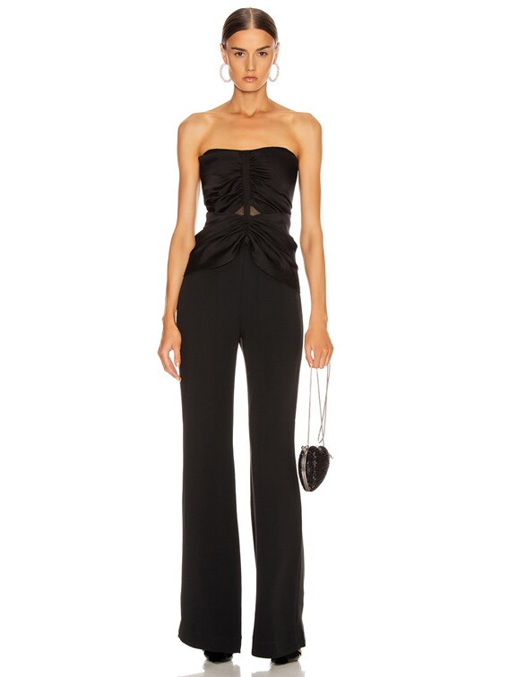 Ruched Strapless Jumpsuit in Black