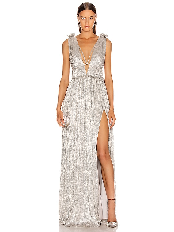 Plisse Lame Maxi Dress in Cool Silver