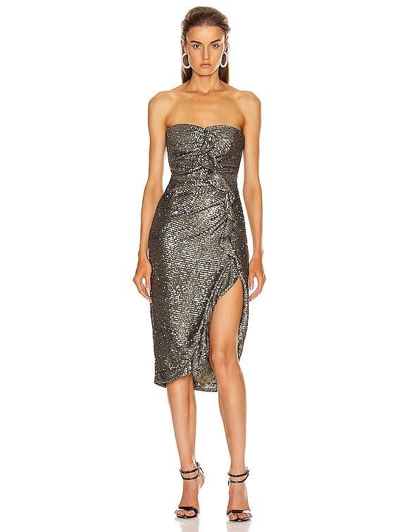 Sequin Strapless Bustier Dress in Black