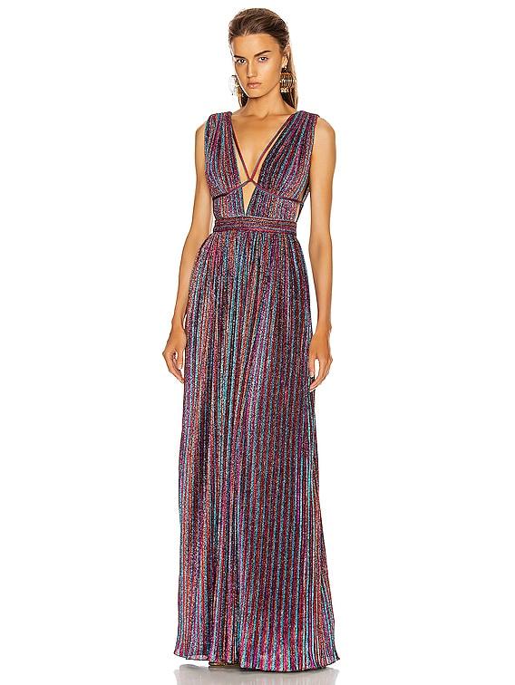 Open Neck Maxi Dress in Rainbow