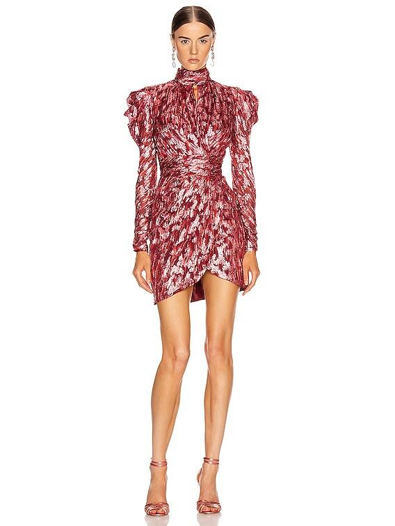 Metallic Mockneck Wrap Dress in Sienna Combo