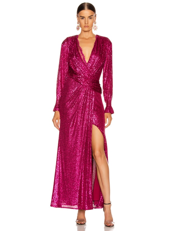 Sequin Draped Front Gown in Magenta Combo
