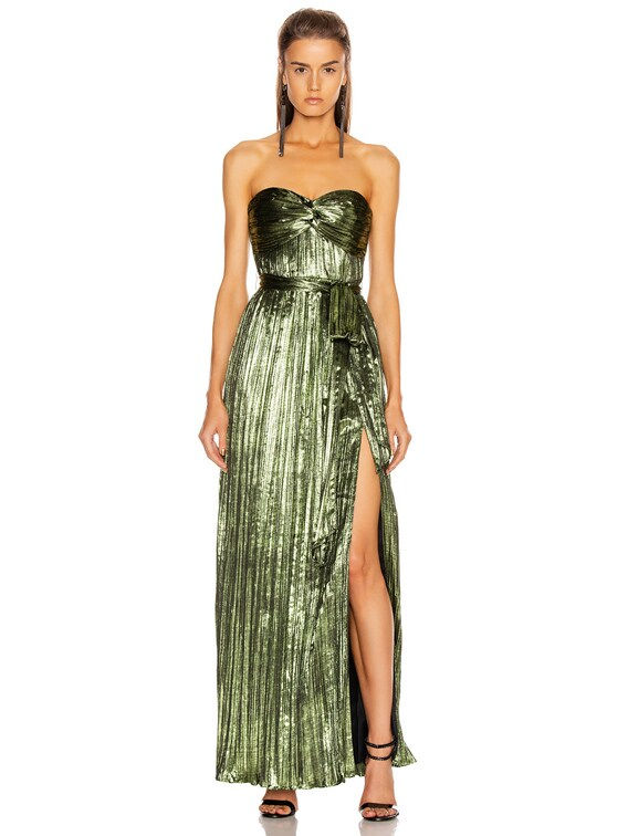 Metal Plissé Strapless Gown in Lime