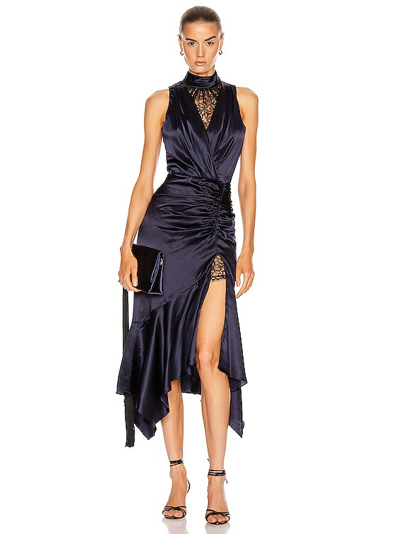 Lace Slit Dress in Midnight & Black