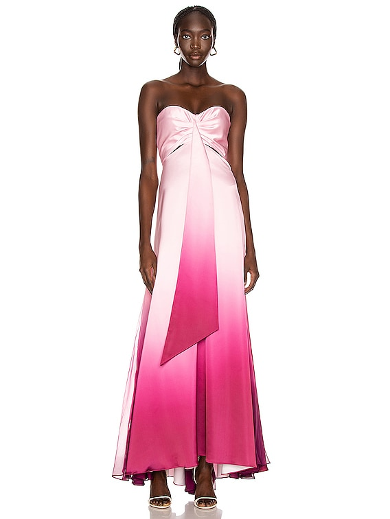 Ombre Cutout Bustier Gown in Magenta Ombre