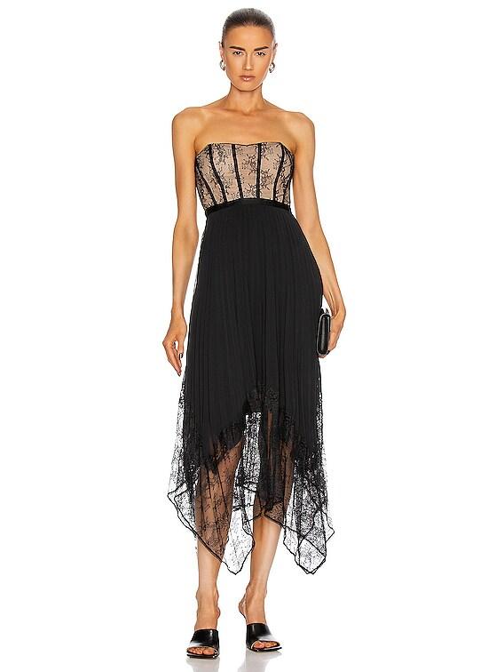 Scarlett Strapless Pleated Midi Dress in Black