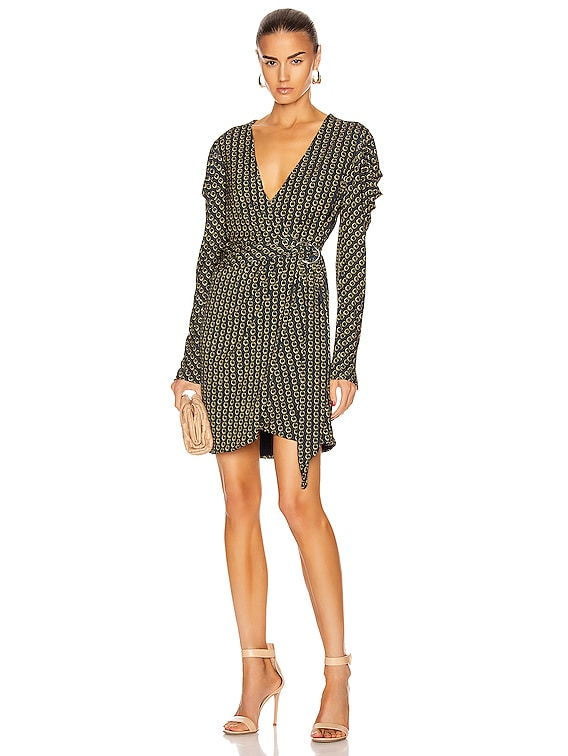 Chain Pleated Sleeve Mini Dress in Midnight Combo