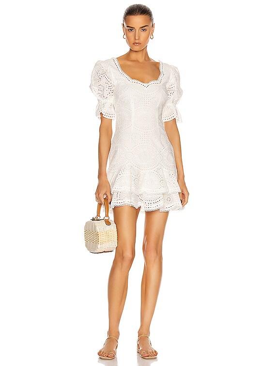 Meg Puff Sleeve Mini Dress in White