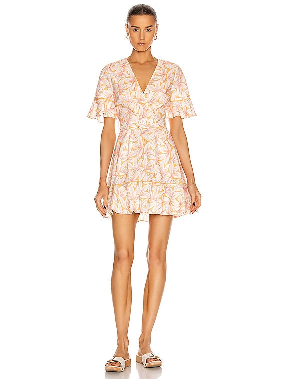 Zoey Belted Ruffle Mini Dress in Apricot Print
