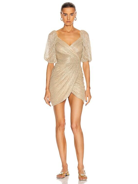 Nina Mini Wrap Dress in Gold