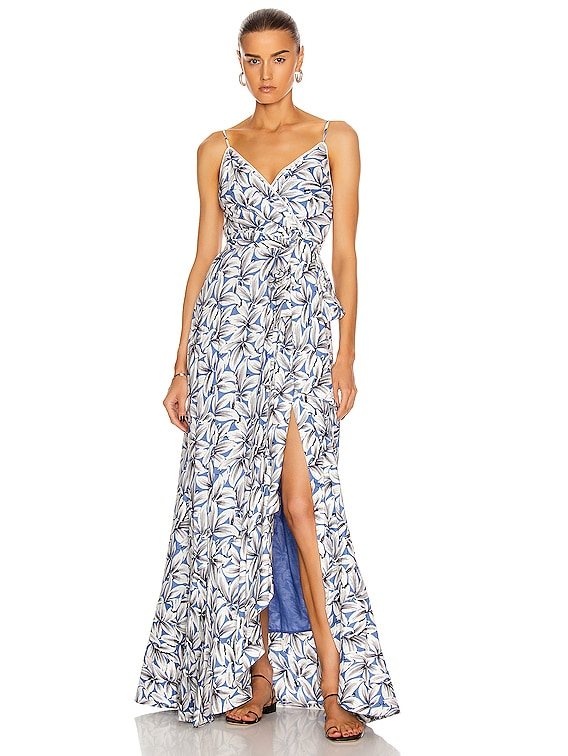 Ava Wrap Gown in Pacific Print