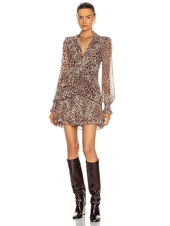 Joya Mini Dress in Camel Leopard