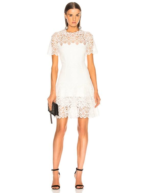Multimedia Lace Mini Tee Dress in White