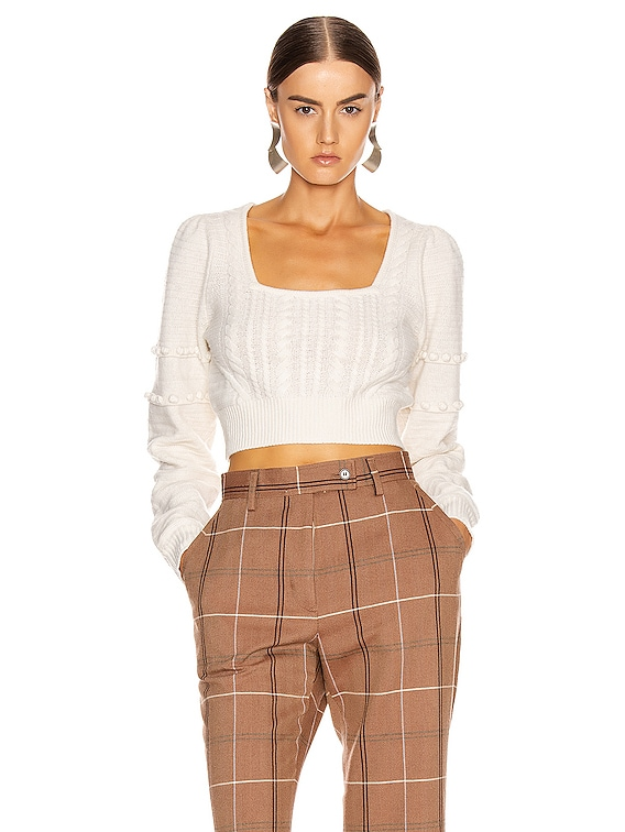 Scarf Embroidery Cropped Sweater in White Combo