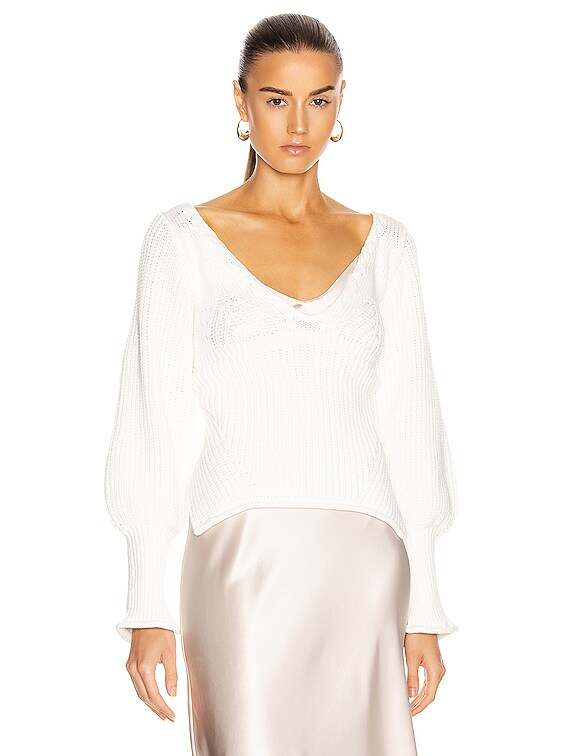 Gabriella Rib Sweater in White