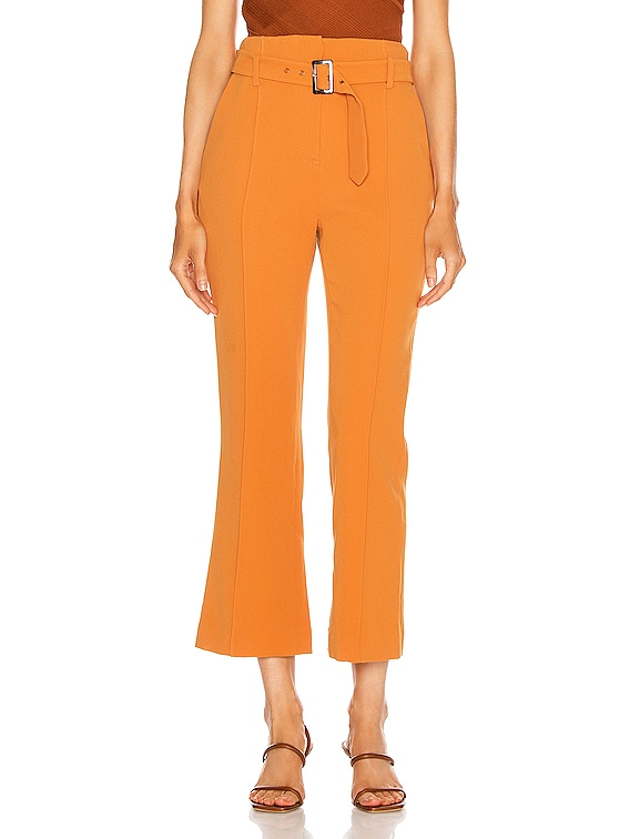 Florence Crepe Belted Pant in Toffee