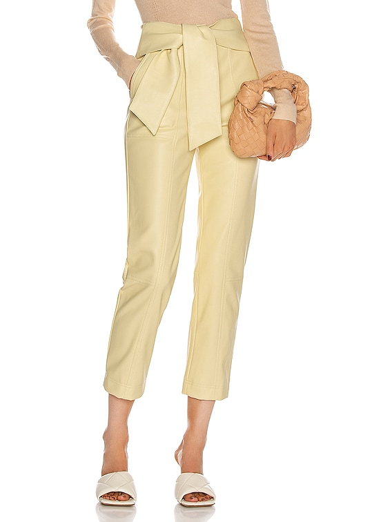 Tessa Tie Waist Pant in Pale Yellow