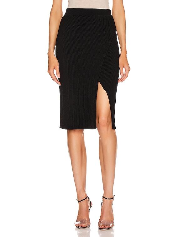 Deep Rib Wrap Skirt in Black