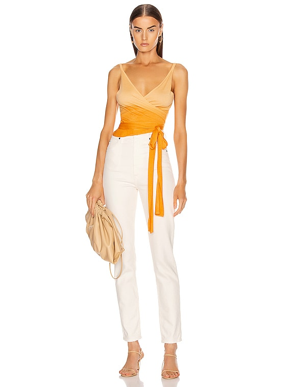 Ombre Cashmere Wrap Top in Amber Ombre