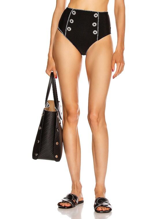 Piped High Waisted Bikini Bottom in Black