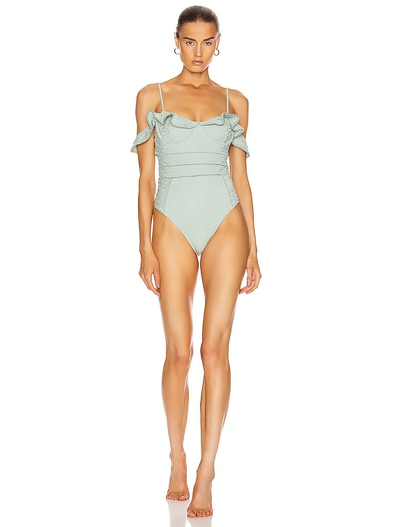 Irving Lace Up Swimsuit in Seafoam