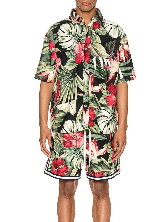 Kailo Short Sleeve Shirt in Black Hibiscus Grande
