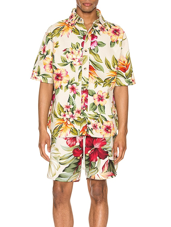 Kailo Short Sleeve Shirt in Cream Floral