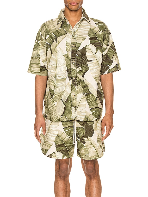Kailo Short Sleeve Shirt in Cream Banana Leaf
