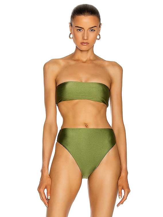 All Around Bandeau Bikini Top in Olive Sheen
